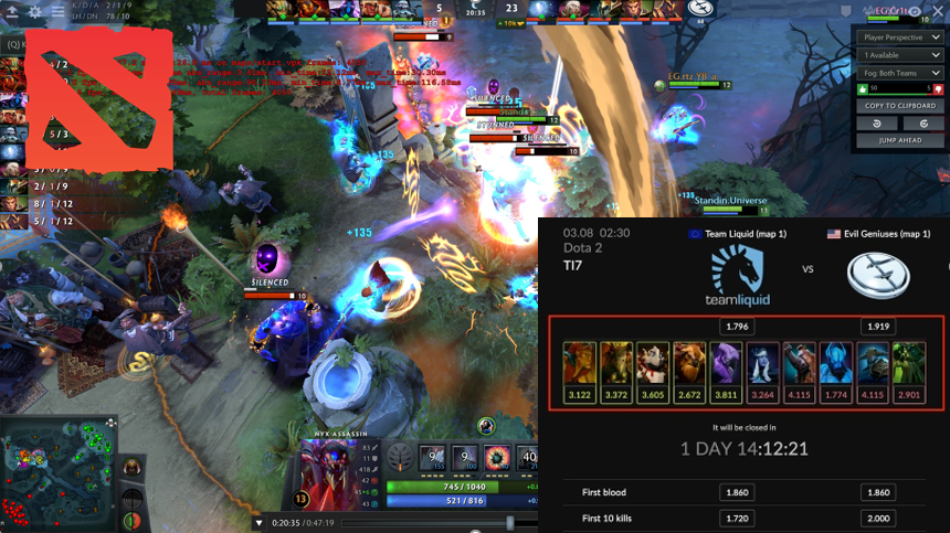 dota 2 game image and online betting options