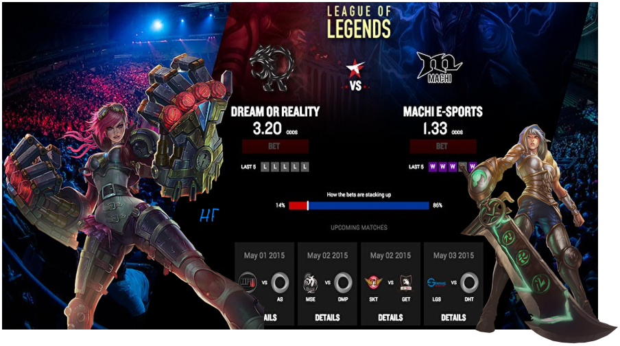 lol betting screen and characters from the game