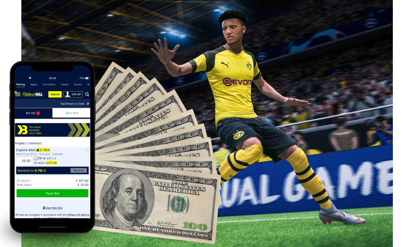 soccer player, USD, and a mobile betting app