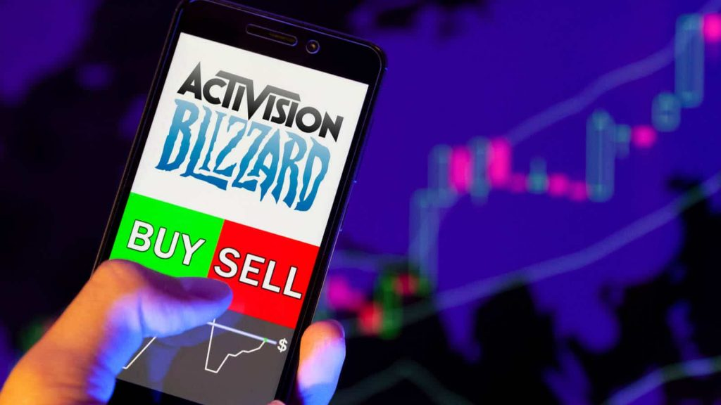 mobile phone showing Activision Blizzard stocks