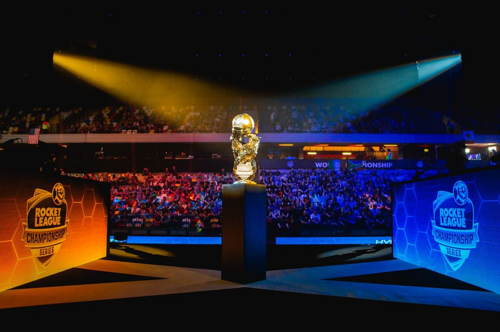 rocket league championship world series arena and trophy
